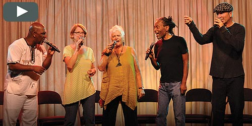 Bobby McFerrin leads 200+ Omega workshop participants in joyful song at the conclusion of Circlesongs 2014. (video)