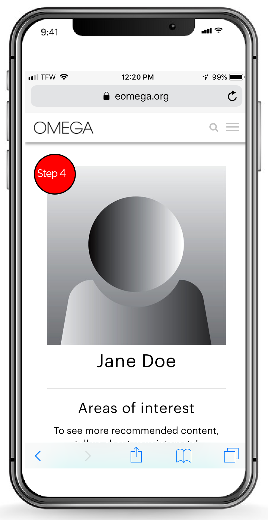Mobile Step 4, Profile Page Top